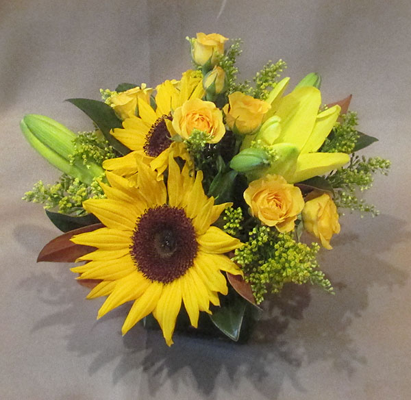 Lily and Sunflower Centerpiece