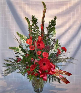 Tableside Vase with Gladiolas*, Snapdragons, Large Gerbera Daisy, Carnations, and Alstroemeria
