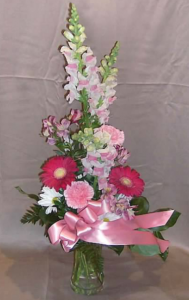 ableside Vase with Snapdragons, Gerbera Daisy,  Alstroemeria, Carnations and Daisies