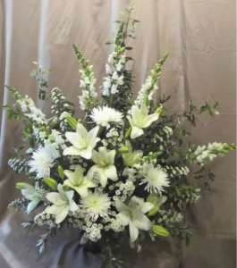 Traditional Tribute with Snapdragons, Fuji Mums,  Asiatic Lilies, and Monte Cassino