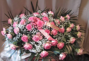 Casket Spray with Large Roses and Gypsophila