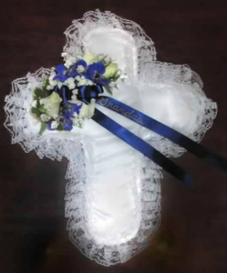 Satin Cross Pillow with Delphinium, and Roses
