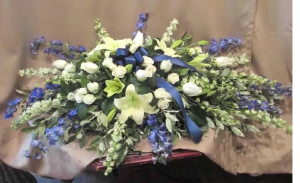 Casket Spray with Delphinium, Larkspur, Asiatic Lilies, Large and Spray Roses