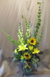 Tableside Vase with Bells of Ireland, Snapdragons,  Sunflowers, Asiatic Lilies, Pom Mums and Solidaster