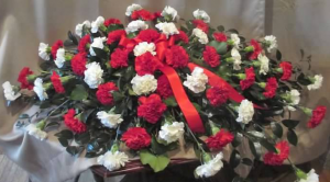 Casket Spray with red and white Carnations