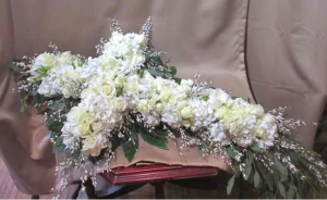 Casket Cross with Hydrangea, Large and Spray Roses,and Genestra