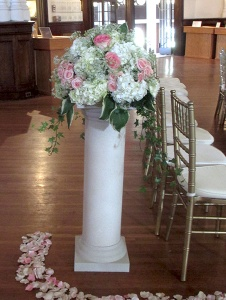 White and Pink Column with Hydrangeas and Roses with Mixed Greens