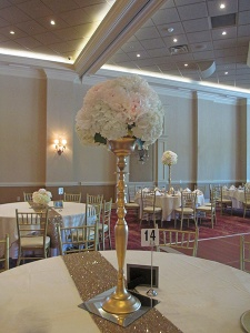 Candelabra with White Hydrangea and Blush Peonies