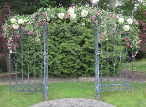 Iron Arbor with Sweet Pea Vine and Hydrangea