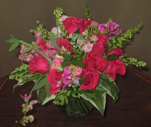 Pink Rose and Sweet Pea Arrangement in Rose Bowl