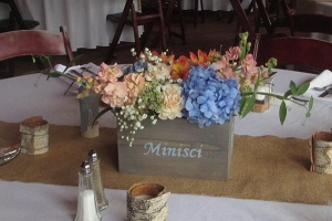 Wooden Box Centerpiece with Mixed Floral