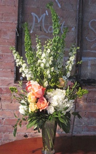 Hydrangea And Rose Vase With Snapdragons And Bells Of Ireland