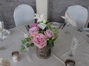 Birch Bark Vase with Roses, Dahlia's and Hydrangea