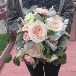 Pink and Ivory Rose Bouquets with Eucalyptus and Dusty Miller