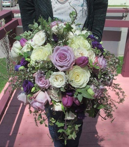 Bouquet with Purple and Ivory Roses, Lisianthus, Tulips, and mixed greens