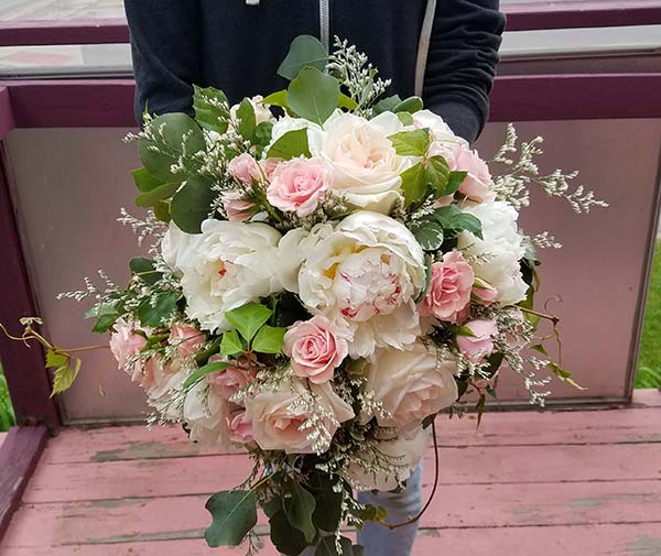 White Garden Rose And Peony Bouquet With Pink Mini Roses