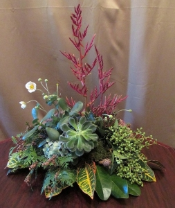 Organic Centerpiece with Mixed Greens, Succulents, Berries and Heliconia
