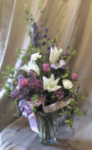 Tableside Vase with Larkspur, Asiatic Lily,  Carnations, Large Roses and Daisy Mums