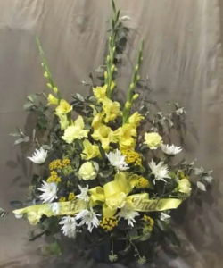 Traditional Tribute with Gladiolas, Carnations,  Pom Mums and Yarrow *