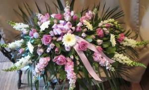 Casket Spray with Snapdragons, Stock,  Large Gerbera Daisy, Large and Spray Roses, and Tulips