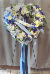 Open Floral Heart with Delphinium, Hydrangea,  Spray Roses, Pom Mums, and Gypsophilia
