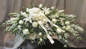 Casket Spray with Hydrangea, Snapdragons, Asiatic Lilies,  Large Roses, Alstroemeria and Veronica