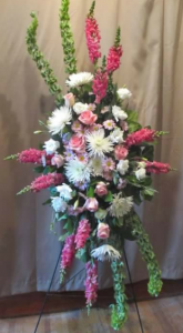 Easel Spray with Bells of Ireland, Snapdragons,  Fuji Mums, Large Roses, Carnations and Daisies