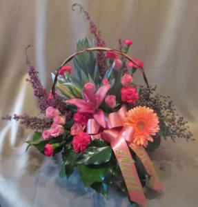 Tableside Basket with Spray Roses, Miniature Carnations,  Asiatic Lily, Gerbera Daisy, Silver Protea and Heather
