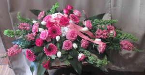 Casket Spray with Bells of Ireland, Snapdragons, Hydrangea, Large Gerbera Daisy, Roses and Tulips