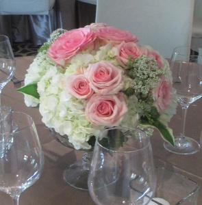 Pedestal Vase with Hydrangea and Roses with Mixed Greens