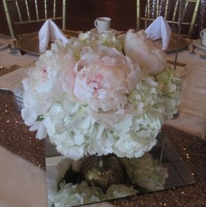 Pedestal Vase with White Hydrangea and Blush Peonies
