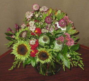 Mixed Vase Arrangement with Sunflowers and Pods