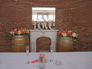 Head Table Backdrop of Hydrangea, Roses, and Gerbera Daisies
