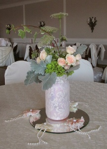 Lace Covered Mason Jars with Green and Pink Floral Mix