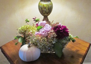 Glass Vase with Hydrangea, Roses, Dahlias and Wild Grasses