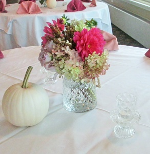 Glass Pedestal Vase with Hydrangea, Roses, Dahlias and Wild Grasses