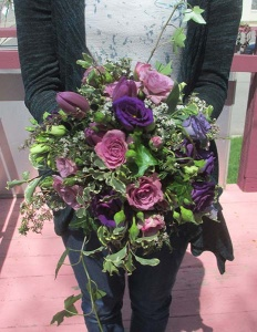 Bouquet with Lavender Roses, Lisianthus, Tulips, and mixed greens