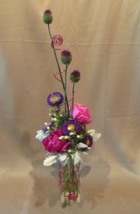 Poesy Vase with Peonies, China Aster, Hypericum Berry, Dusty Miller and Alum accented with Deco Wire